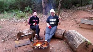 Sitting around the campfire on the Bibbulmun Track